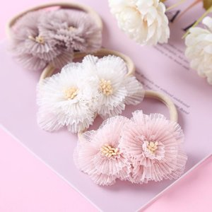 Hair Accessories 24pc lot Lace Flower Baby Nylon Headbands For Girls Solid Head Band Infants Born Po Prop