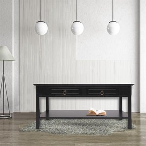 Living Room Furniture FCH Simple Two Solid Wood Foot Sofa side tables End Table Black