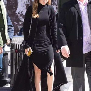 Gigi Casual Dresses Wind street s super soft modal velvet high neck side slit dress