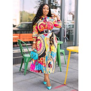 Casual Dresses Plus Size Loose Dress Printed Long Sleeve Fashion For Women England Pleated Squsre Collar