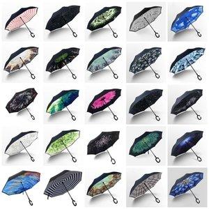Inverted Reverse Umbrellas Car Umbrella Windproof Reverse Rain Handle Umbrellas Household Sundries sea shipping T2I52313