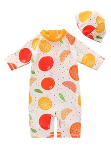 Children's Swimsuit Set, Fruit Print Zipper Playsuit And Cap Two-Piece Suit For Vacation Swimming Beach One-Pieces