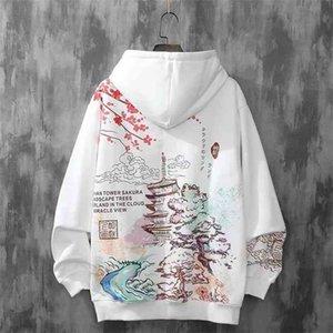 Anime Hoodies Sweatshirts Chinese Style Men Black Harajuku Oversized Pullovers For Women CS455 210910