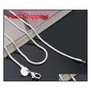 2Mm 925 Sterling Sier Snake Chain 16 18 20 22 24 Inch Chains Designer Necklace Jewelry Wholesale Factory Price Imhbf Xqajr