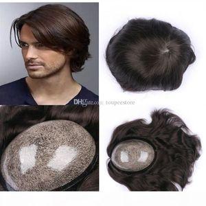 European Natural Hair Toupee Thin Skin Toupee For Men Full Pu Mens Toupee Replacemen System Human Hair Straight Natural Black Men Hairpiece