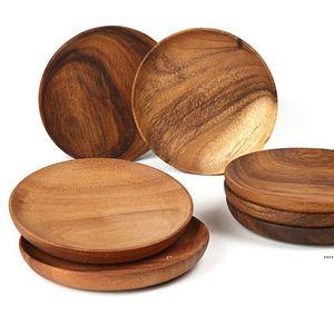 Nuove semplici tavole da tavola in legno piastre rotonde vassoio di frutta tavola rotonda tavola legno snack dessert snack piatto piatto 15cm 20 cm EWA5178