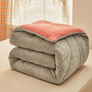 Comforters & Sets Winter Super Warm Doug Velvet Quilt Thick Duvet Flannel And Lamb Double-faced Wool Blankets Quilts Comforter For Bedding