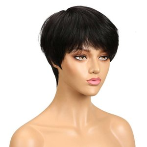 high qualitySleek wig pixie cut straight brazilian short silicone cap 10a virgin highlights pink loose curl wave human hair wigTW