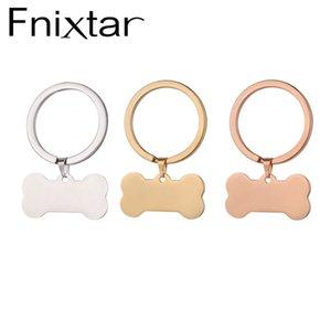 Fnixtar Dog ID Tags Keychain Stainless Steel Animal Pet Dog Blank Bone Key Holder 10piece lot 210409