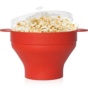 Bowls 1PC Silicone Popcorn Bowl Microwave Oven Folded Bucket DIY High Temperature Resistant Large Covered