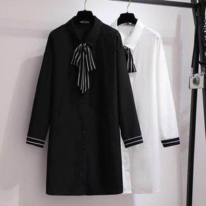 가을 쉬폰 셔츠 드레스 여성 플러스 사이즈 흉상 158cm 6xl 7xl 8XL 9XL 10XL 레트로 느슨한 검은 색 화이트 색상 캐주얼 드레스