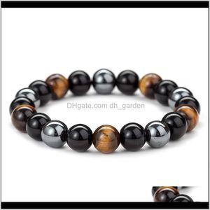 Beaded Strands Drop Delivery 2021 Fashion Natural Black Obsidian Hematite Tiger Eye Beads Bracelets Men Magnetic Health Protection Women Jewe