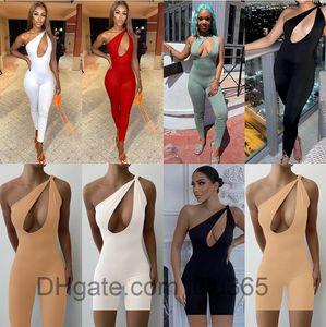 Women Jumpsuit 2021 spring and summer new Designer Fashion women's solid color irregular one shoulder kink sleeveless slim pants Rompers lulu365