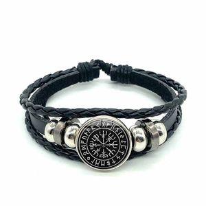 Wikinger Kompass Multilayer Holz Perle Armband Männer Casual Mode Geflochtene Leder Armbänder Armreifen Retro Punk Wrap Armband