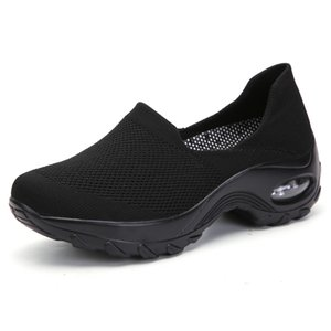 Breathable air cushion sole knit men running shoes Lightweight mens triple black white sneakers women womens mother dad trainers 36-45