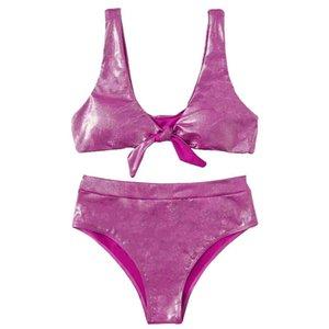 Pink Metallic Knot Front Bikini Sets Women Push Up Swimsuit High Waisted Bathing Suit Sexy Brazilian Biquini Swim Women's Swimwear