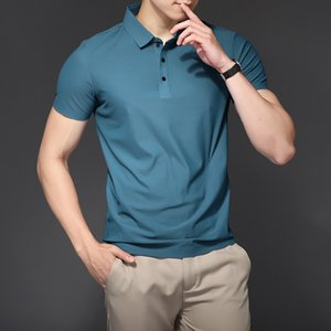 Luxury T-shirts Ice Silk Men's Summer Short Sleeve Busins Casual Lapel T- Middle-aged and Young Sports Polo Shirt