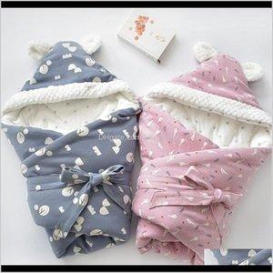 Towels Robes Discharge Envelope Borns Cotton Cartoon Blanket Kids Soft Warm Wrap For Baby Girl Boy Sleeping Bag 80X80Cm Lj200819 Llref Azw8T
