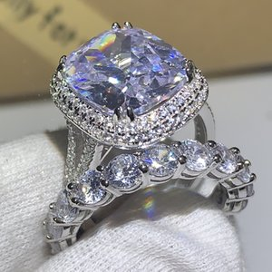 Choucong US Size 5-10 Deluxe Jewelry 925 Sterling Silver Cushion Shape White Sapphire CZ Diamond Gemstones Wedding Bridal Ring Set For Women