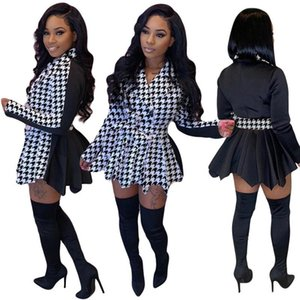 Casual Dresses Dress Women Party Pleated Plaid Patchwork Sashes Long Sleeve High Quality Mini Wholesale Drop 2021