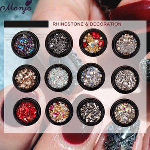 Monja 13 Styles Metal Nail Art Crystal Gems Decorations Mix Size Beads Rhinestones Shiny Jewelry 3D Charms Manicure Accessories
