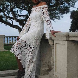 Boho Lace Wedding Dresses 2020 Spring Long Sleeve Off Shoulder High Low Full Lace Bohemian Bridal Gowns Custom Size vestidos de novia