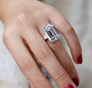 Unique Jewelry Real 925 Sterling Silver Emerald Cut Large Pink Sapphire CZ Diamond Promise Party Princess Women Wedding Band Ring 16 J2