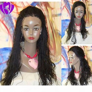 Handmade 30inches Long Senegalese 2x Twist Lace Wig Synthetic Fully Hand Braided lace front wig Medium Twist For Afro Women