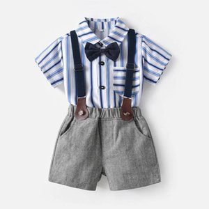 Boys Clothing Sets Kids Suit Baby Outfit Summer Cotton Striped Short Sleeve Shirts Suspender Shorts Pants 2Pcs gentleman Children Clothes 0-7Y B4736