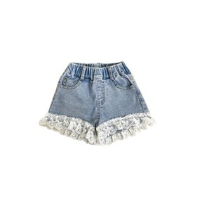 Fashion kids lace denim shorts INS summer girls embroidered ruffle short jeans children all-match cowboy clothing A6463