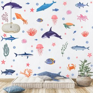 Ocean World Wall Sticker Cartoon Animal Dolphin Jellyfish Self-adhesive Pvc Decorative Painting O6Q1723