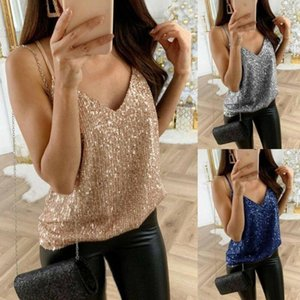 Bandage Vest Ladies Womens Summer Strappy Sequined Bling Shiny Tank Top Sleeveless Blouse Casual Loose Tops Women's Swimwear