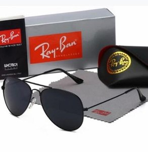 High Quality Ray Men Women Sunglasses Vintage Pilot Brand Sun Glasses Band UV400 Bans With box and case 3025