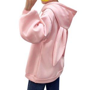 Kawaii Sweet Conejo Orejas Sudadera con capucha Mujeres Bordado Sudaderas Pink Sudaderas Flojo Manga Larga Trajes Poletones Moletom