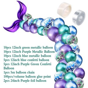 Wedding Decoration 42pcs Mermaid Tail Balloon Arch Set 12 inch Latex Metallic Confetti Ballloon for Birthday Baby Shower Decor