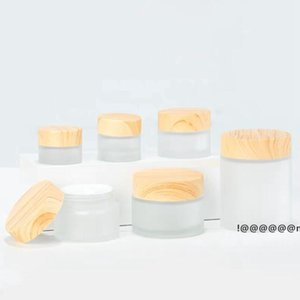 Frosted Glass Jar cream bottle Storage Boxes with imitation wooden lids 5G 10G 15G 30G EWB6265