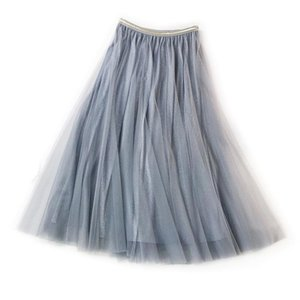 Skirts Lurex Shiny Metallic Women Spring Summer Tutu Tulle A Line High Waist Elegant Holiday Party Midi Skirt Femme T040
