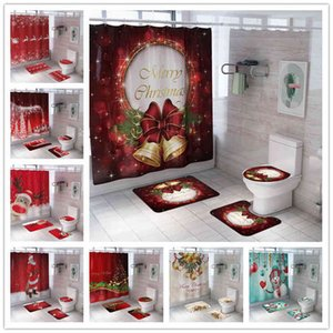 Christmas Shower Set With Mats Pedestal Rug Toilet Cover Waterproof Polyester Bath Curtain Home Decoration Bathroom Accessories ROQC