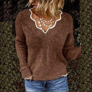 الأزياء زائد الحجم الأسود الخامس الرقبة البلوزات المرأة الخريف الشتاء الملابس محبوك البلوفرات طويلة الأكمام المتضخم صداري الإناث