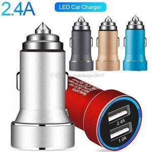 Молоток безопасности Двойные USB-порты 3.4a Автомобильное зарядное устройство Автоматический адаптер питания для iPhone 7 8 X Samsung S8 S9 S10 HTC Android Phone GPS PC