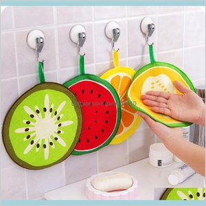 Towel Home Textiles & Garden Kawaii Fruit Print Hanging Kitchen Microfiber Towels Quick-Dry Cleaning Rag Dish Cloth Wiping Napkin Scou