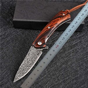 1Pcs Top Quality Flipper Folding Knife VG10 Damascus Steels Blade Rosewood + Stainless Steel Sheet Handle Outdoor EDC Pocket Gift Knives