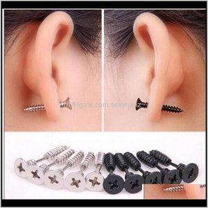 Jewelry Drop Delivery 2021 5 Color 30Pcs Lot Single Fashion Unisex Fine Ear Cuff Stainless Steel Whole Screw Stud Earrings Body Piercing Htrn