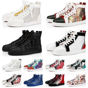 2021 New Red Bottom Dress Designer Shoes Brand Mens Womens Platform Sneakers Big Size Us 13 Fashion Black Studded Spikes Loafers Flat Heels Trainers Eur 36-47