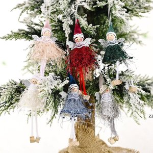 Christmas Dancing Angel Doll Pendant Xmas Tree Hanging Ornaments Plush Elves Holiday Present New Year Gifts HWA8768