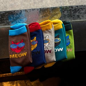 Men's and women's clothinghead with Trendy socks middle sunglasses men's cat's cotton stockings 35KN