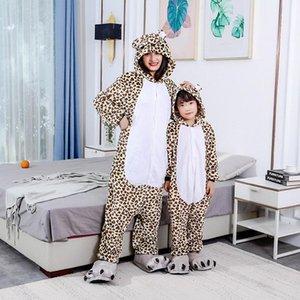 Dropshiping 2021 Animal Unisex Adult Hooded Pyjamas Suit Outfit Leopard Bear Onesies Cartoon Pajamas Nightclothe Christmas Gift Women's Jump