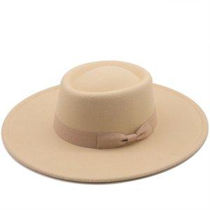 2021 New Fashion Wool Felt Fedoras Hats For Women Men Wide Brim Jazz Top Hat Derby Wedding Church Caps Wholesale Dropshipping