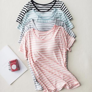 Womens Sleepwears Built In Bra Sleep Shirts Women Loose Fit Short Sleeve Striped Modal Wear Summer Padded Breathable Lounge Lingerie