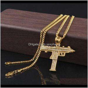 & Pendants Drop Delivery 2021 Gold Gun Shape Pistol Pendant Necklace For Mens Fashion Hip Hop Cuban Link Chain Necklaces Jewelry Extng